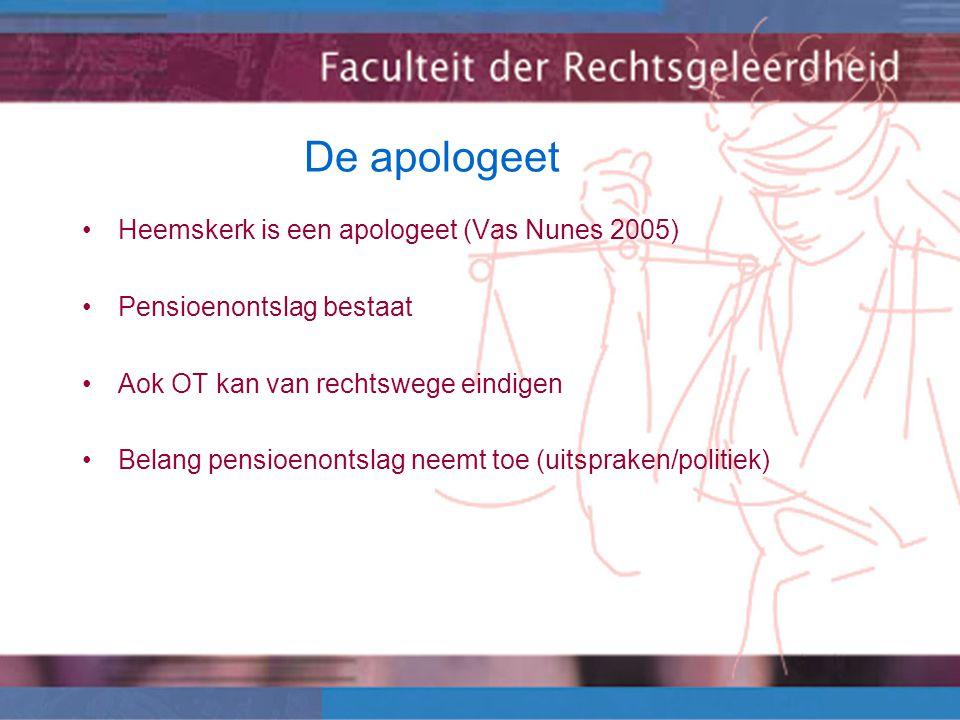 De apologeet Heemskerk is een apologeet (Vas Nunes 2005) Pensioenontslag bestaat Aok OT kan van rechtswege eindigen Belang pensioenontslag neemt toe (uitspraken/politiek)