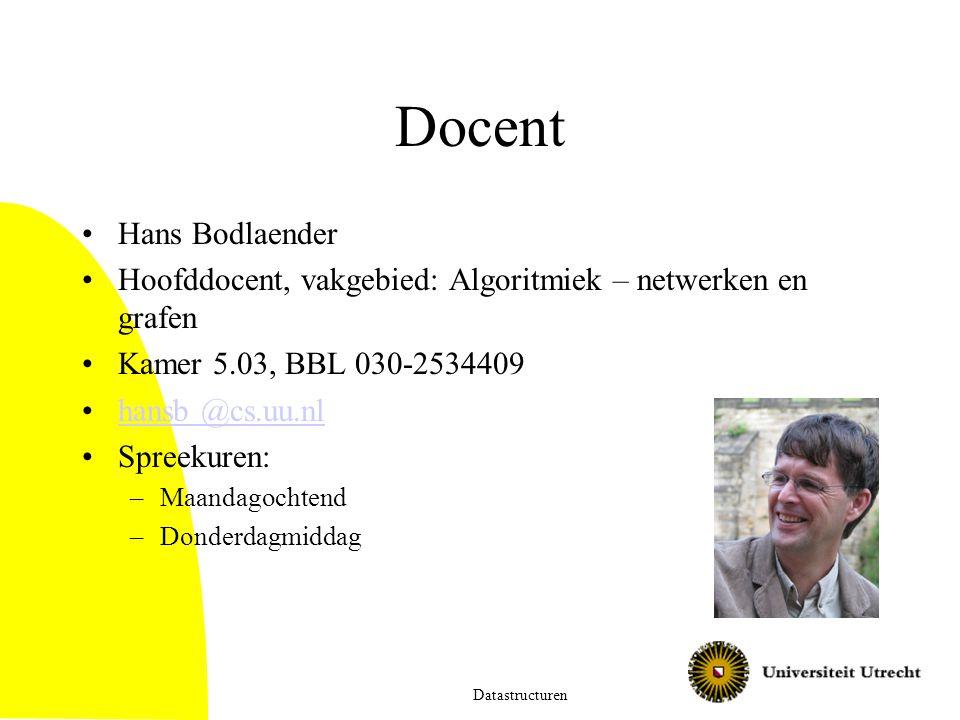 Docent Hans Bodlaender Hoofddocent, vakgebied: Algoritmiek – netwerken en grafen Kamer 5.03, BBL 030-2534409 hansb @cs.uu.nl Spreekuren: –Maandagochte