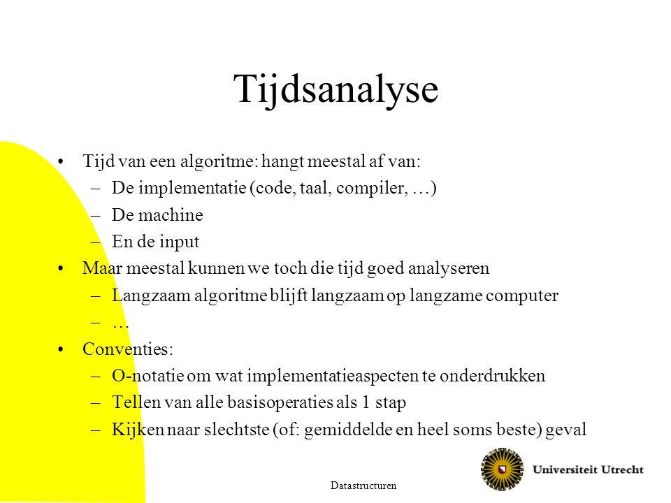 Tijdsanalyse Tijd van een algoritme: hangt meestal af van: –De implementatie (code, taal, compiler, …) –De machine –En de input Maar meestal kunnen we