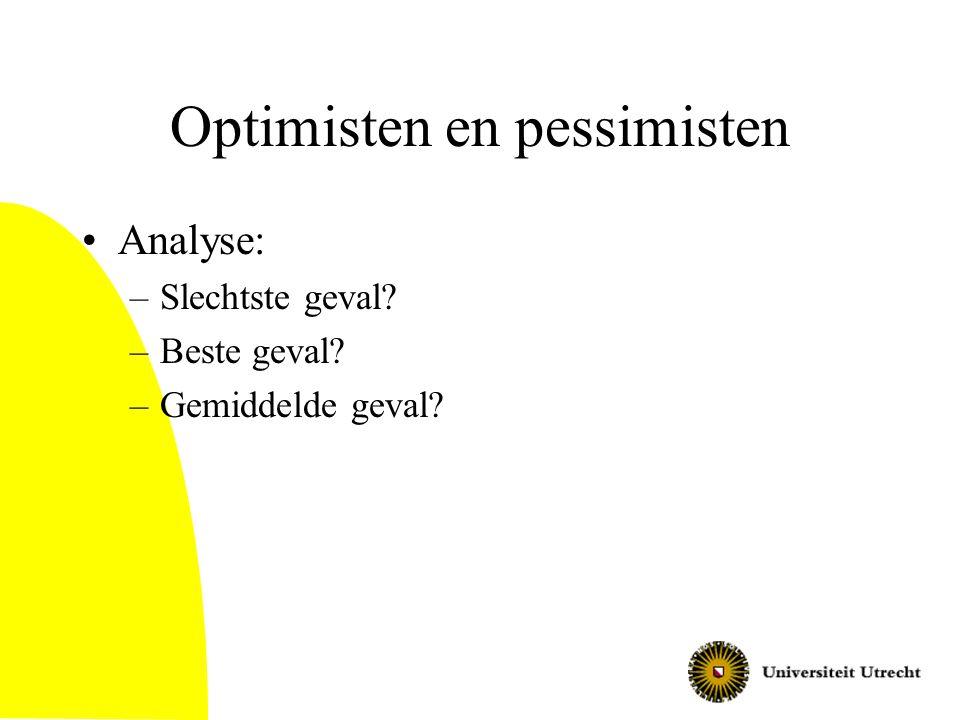 Optimisten en pessimisten Analyse: –Slechtste geval? –Beste geval? –Gemiddelde geval?