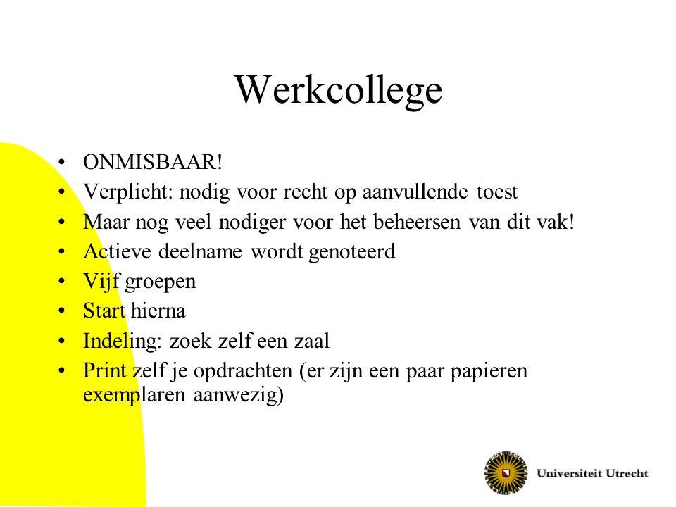 Werkcollege ONMISBAAR! Verplicht: nodig voor recht op aanvullende toest Maar nog veel nodiger voor het beheersen van dit vak! Actieve deelname wordt g