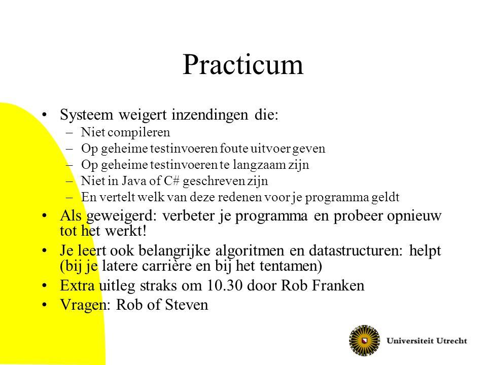 Belangrijk Merk op: je moet het practicum alleen doen!!!.