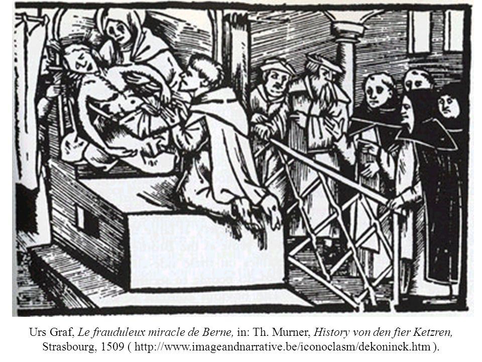 De terechtstelling van vier dominicanen in Bern in 1509 voor het ensceneren van een valse verschijning van Onze-Lieve-Vrouw, houtsnede op titelblad van: De quattuor heresiarchis ordinis predicatorum de observantia nucupatorum, 1509 ( http://www.dorotheum.com/auktion en/auktionstermine/aktuelle- auktionen/kataloge/list- lots/auktion/buecher-und-dekorative- graphik-1.html ).