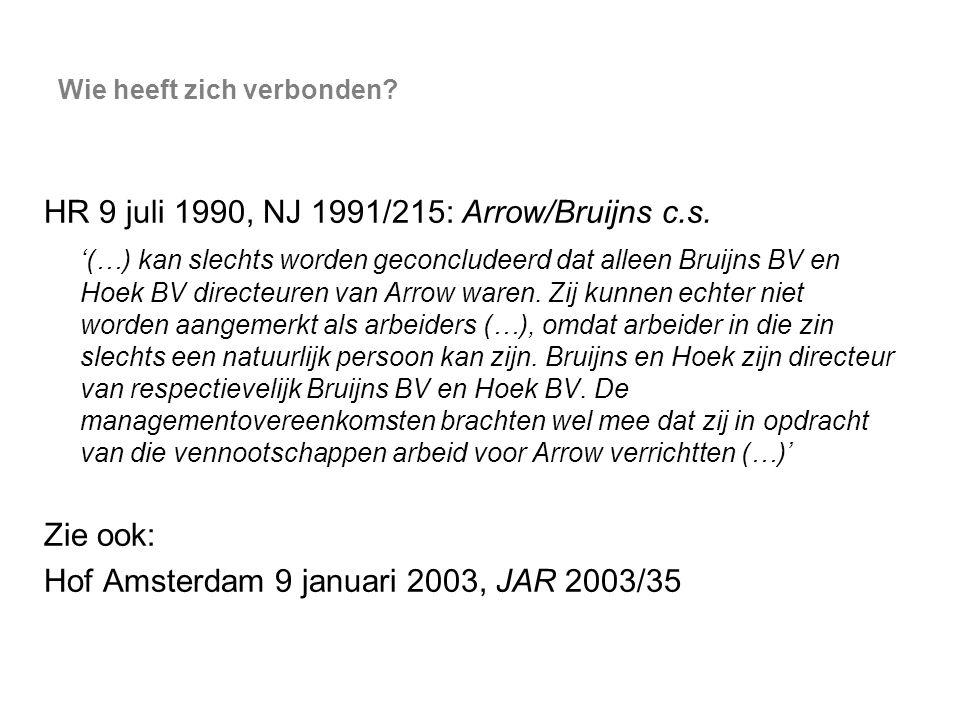 Wie heeft zich verbonden? HR 9 juli 1990, NJ 1991/215: Arrow/Bruijns c.s. '(…) kan slechts worden geconcludeerd dat alleen Bruijns BV en Hoek BV direc