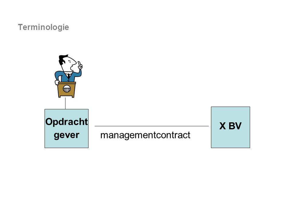 managementcontract Opdracht gever X BV Terminologie