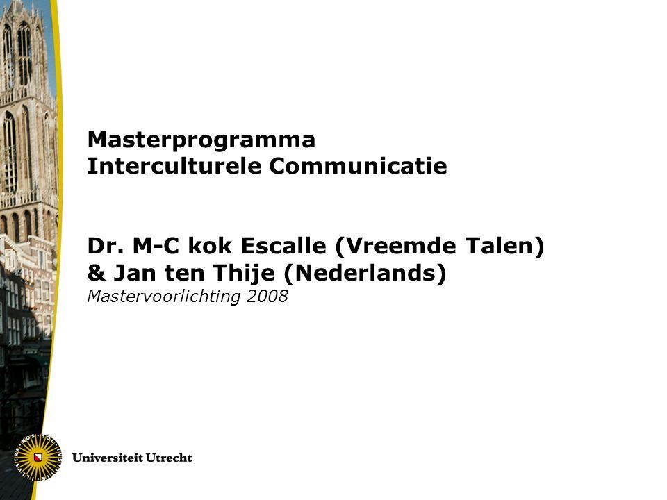 Masterprogramma Interculturele Communicatie Dr.