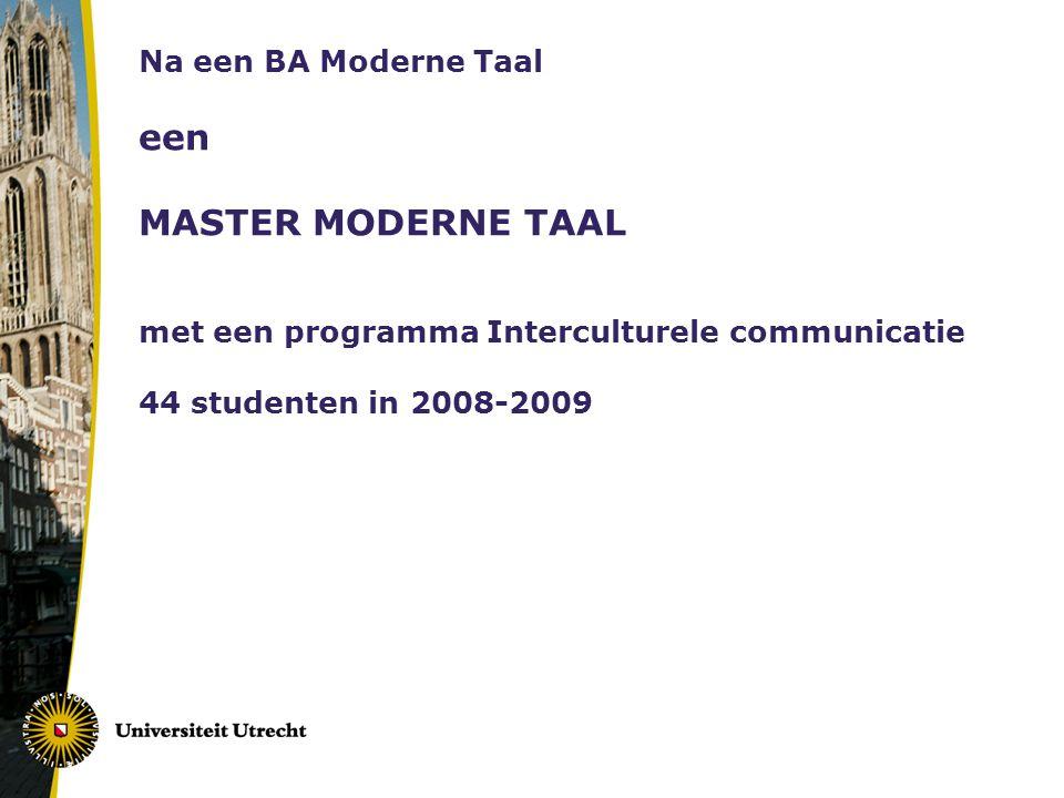 Na een BA Moderne Taal een MASTER MODERNE TAAL met een programma Interculturele communicatie 44 studenten in 2008-2009