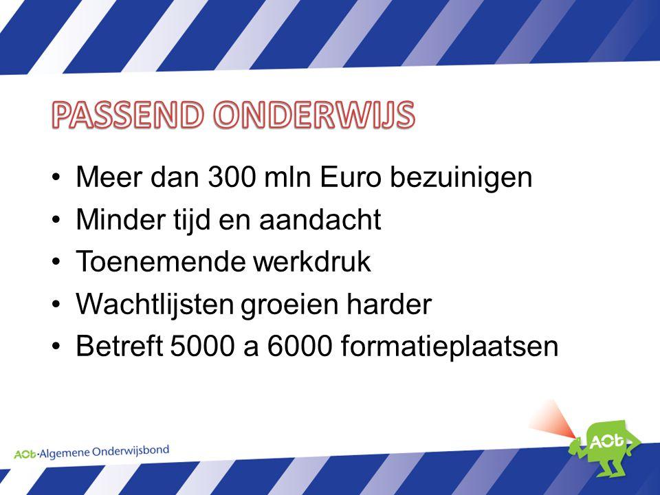 Meer dan 300 mln Euro bezuinigen Minder tijd en aandacht Toenemende werkdruk Wachtlijsten groeien harder Betreft 5000 a 6000 formatieplaatsen