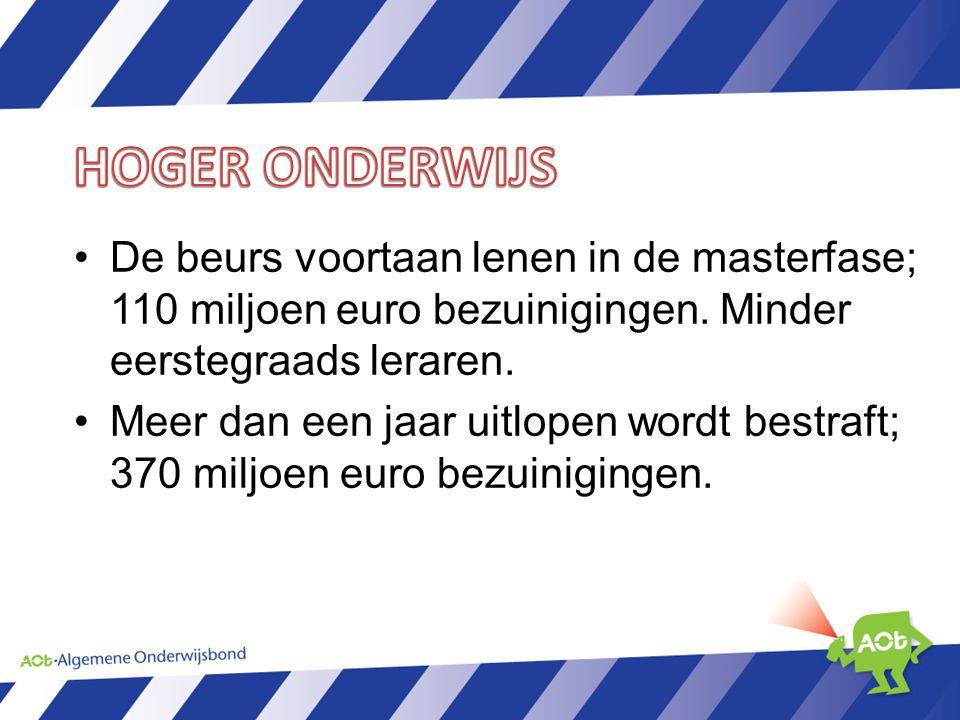 De beurs voortaan lenen in de masterfase; 110 miljoen euro bezuinigingen.