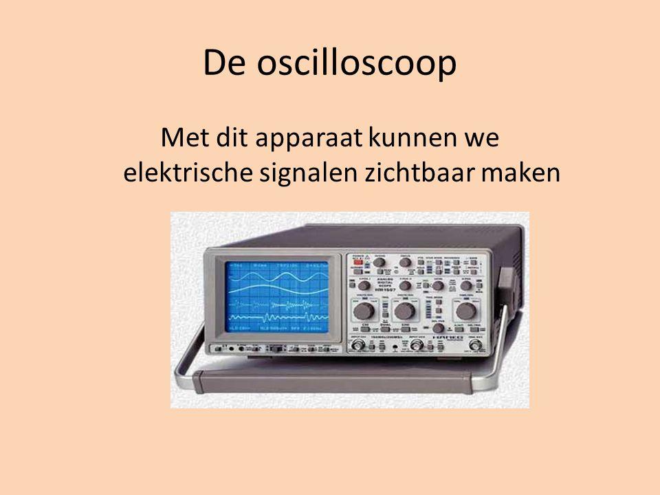 De oscilloscoop Met dit apparaat kunnen we elektrische signalen zichtbaar maken