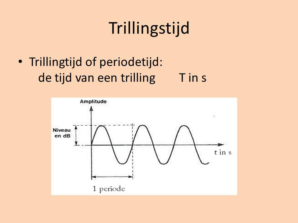 Trillingstijd Trillingtijd of periodetijd: de tijd van een trilling T in s