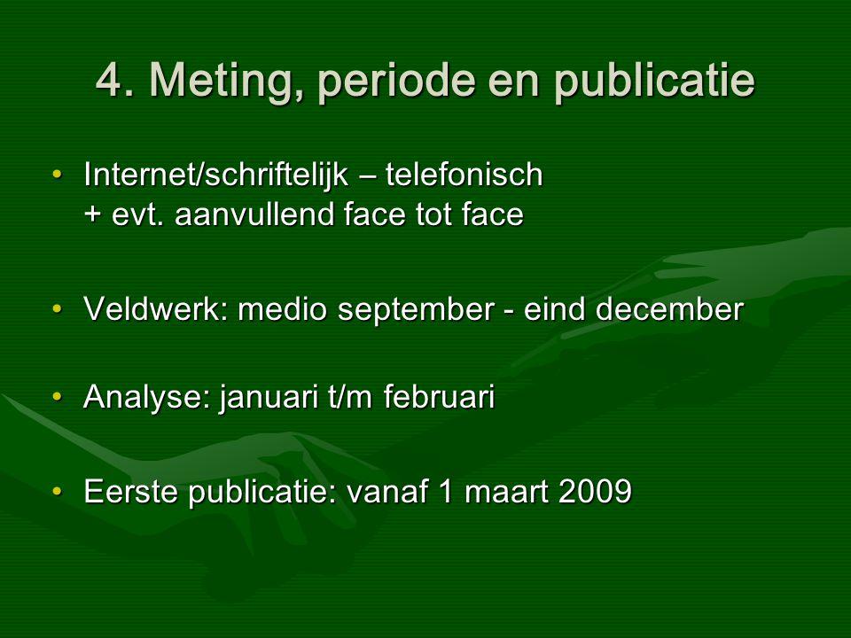 4. Meting, periode en publicatie Internet/schriftelijk – telefonisch + evt.