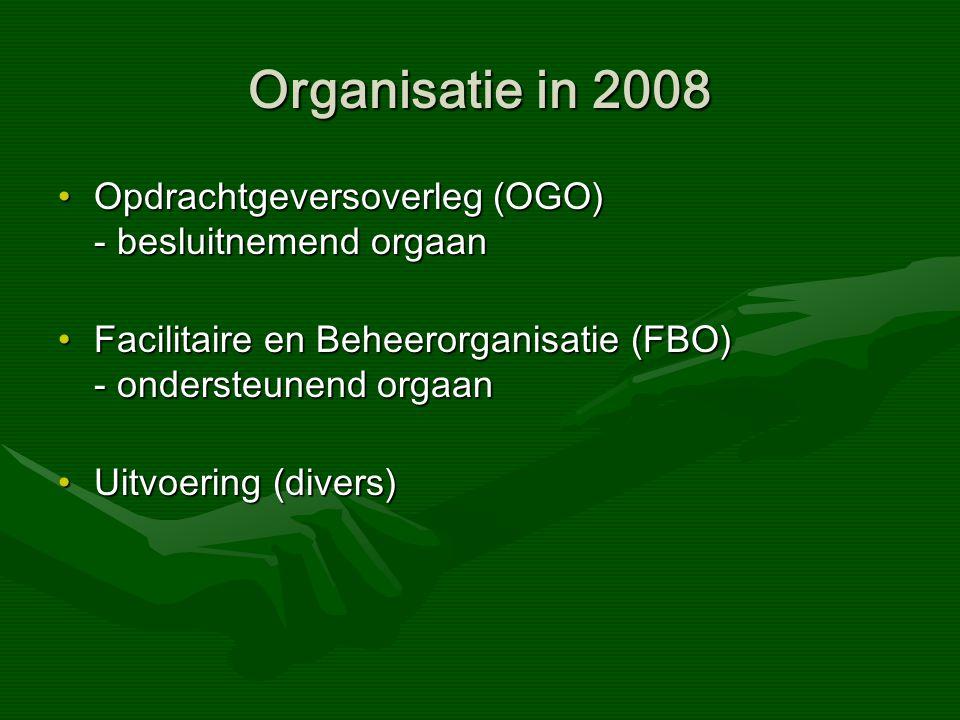 Organisatie in 2008 Opdrachtgeversoverleg (OGO) - besluitnemend orgaanOpdrachtgeversoverleg (OGO) - besluitnemend orgaan Facilitaire en Beheerorganisatie (FBO) - ondersteunend orgaanFacilitaire en Beheerorganisatie (FBO) - ondersteunend orgaan Uitvoering (divers)Uitvoering (divers)