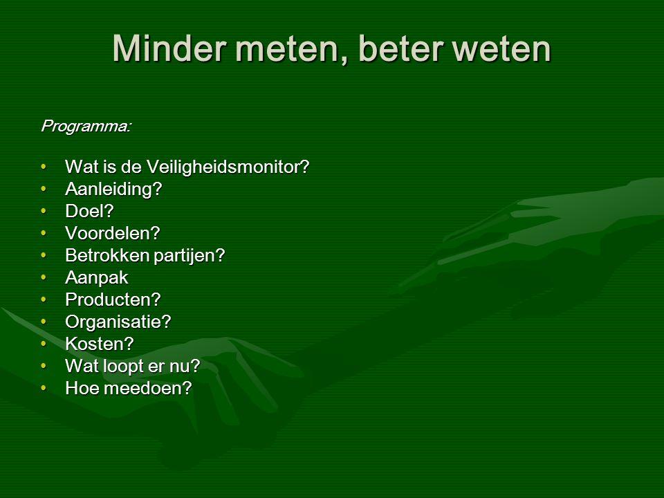 Minder meten, beter weten Programma: Wat is de Veiligheidsmonitor Wat is de Veiligheidsmonitor.