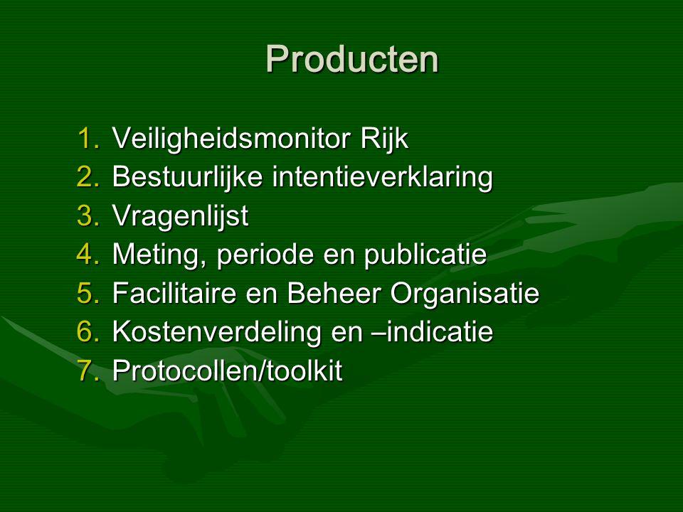 Producten Producten 1.Veiligheidsmonitor Rijk 2.Bestuurlijke intentieverklaring 3.Vragenlijst 4.Meting, periode en publicatie 5.Facilitaire en Beheer Organisatie 6.Kostenverdeling en –indicatie 7.Protocollen/toolkit