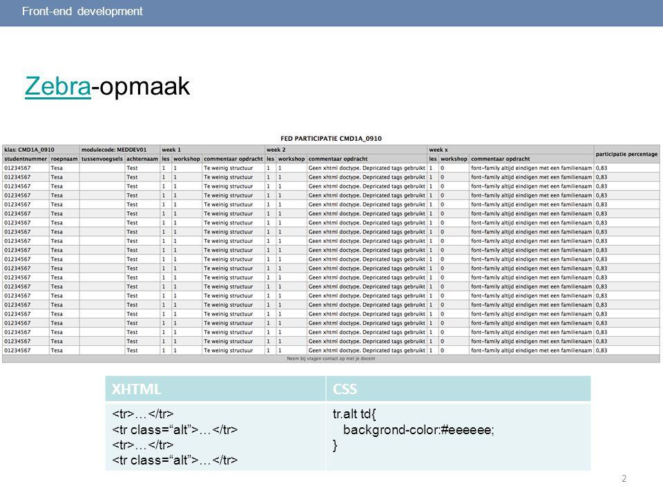 2 ZebraZebra-opmaak Front-end development XHTMLCSS … tr.alt td{ backgrond-color:#eeeeee; }