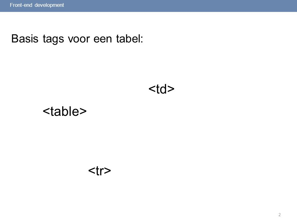 2 Basis tags voor een tabel: Front-end development