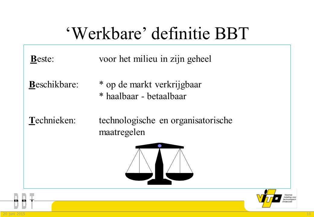 1020 juni 2015 'Werkbare' definitie BBT Beste: voor het milieu in zijn geheel Beschikbare:* op de markt verkrijgbaar * haalbaar - betaalbaar Technieke
