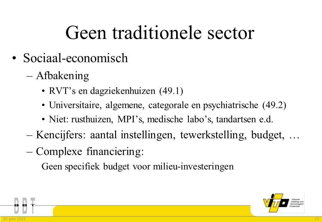 1520 juni 2015 Geen traditionele sector Sociaal-economisch –Afbakening RVT's en dagziekenhuizen (49.1) Universitaire, algemene, categorale en psychiat