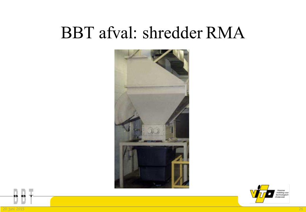 2620 juni 2015 BBT afval: shredder RMA
