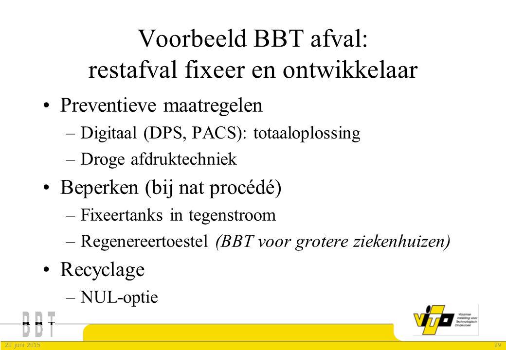 2920 juni 2015 Voorbeeld BBT afval: restafval fixeer en ontwikkelaar Preventieve maatregelen –Digitaal (DPS, PACS): totaaloplossing –Droge afdruktechn