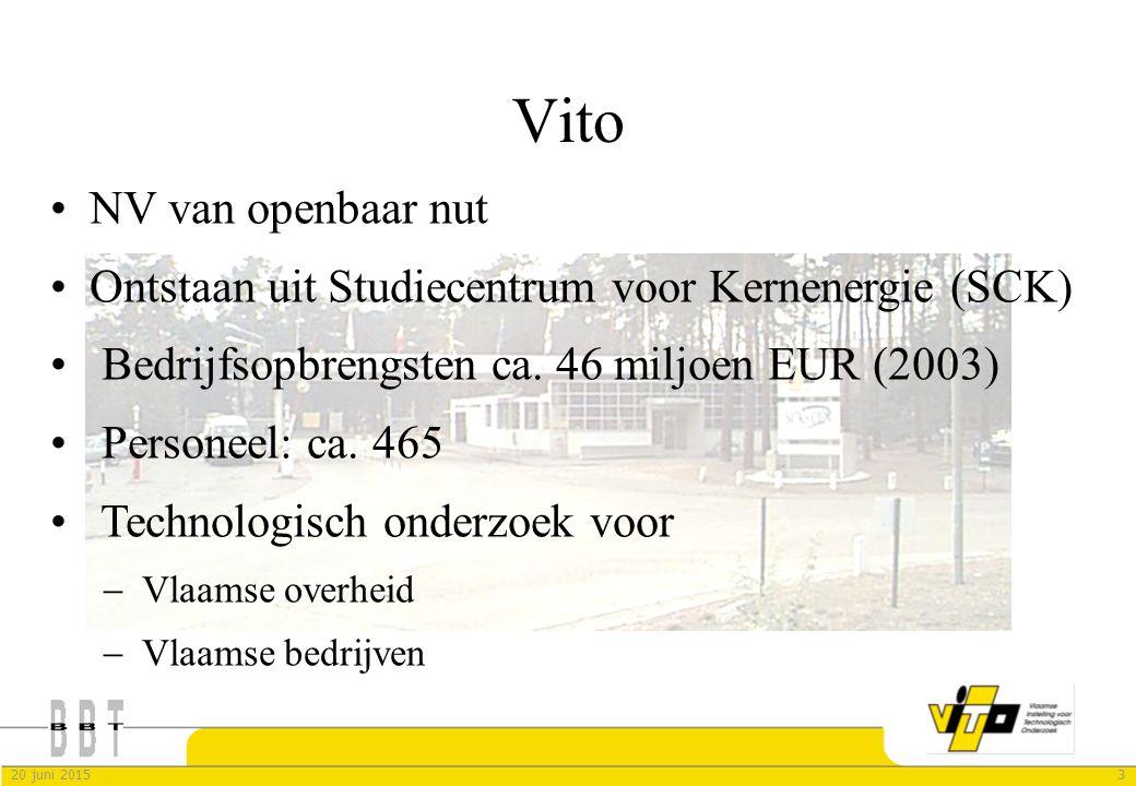 320 juni 2015 Vito NV van openbaar nut Ontstaan uit Studiecentrum voor Kernenergie (SCK) Bedrijfsopbrengsten ca. 46 miljoen EUR (2003) Personeel: ca.