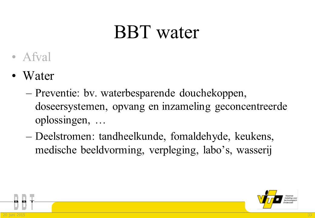 3320 juni 2015 BBT water Afval Water –Preventie: bv. waterbesparende douchekoppen, doseersystemen, opvang en inzameling geconcentreerde oplossingen, …