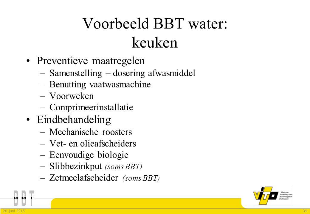 3420 juni 2015 Voorbeeld BBT water: keuken Preventieve maatregelen –Samenstelling – dosering afwasmiddel –Benutting vaatwasmachine –Voorweken –Comprim