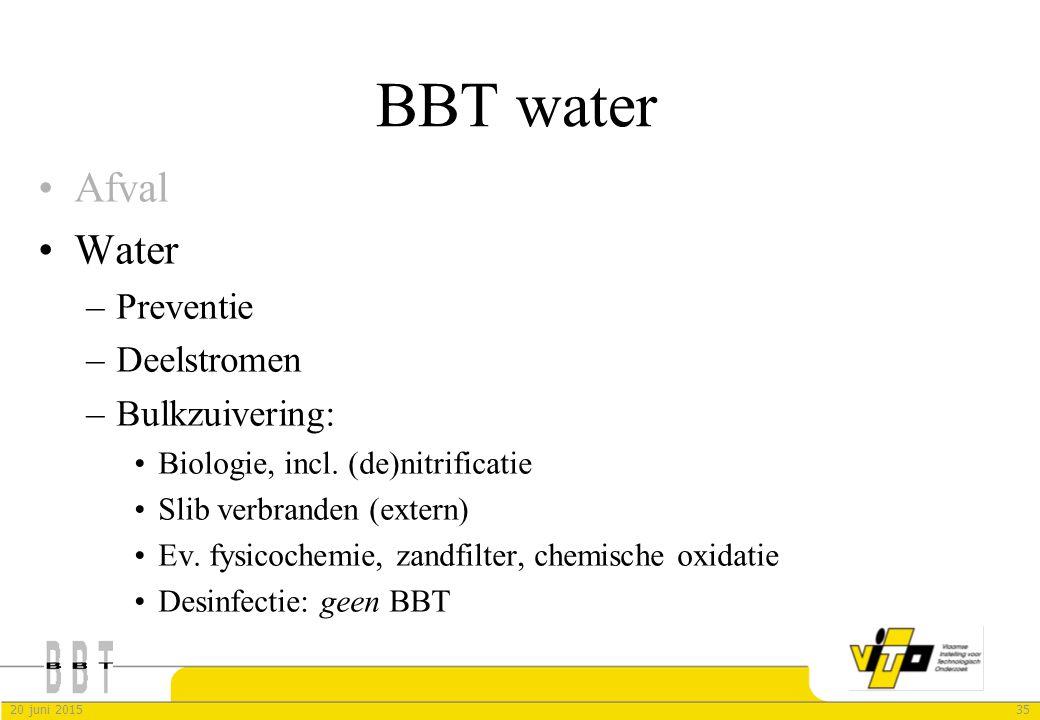 3520 juni 2015 BBT water Afval Water –Preventie –Deelstromen –Bulkzuivering: Biologie, incl. (de)nitrificatie Slib verbranden (extern) Ev. fysicochemi