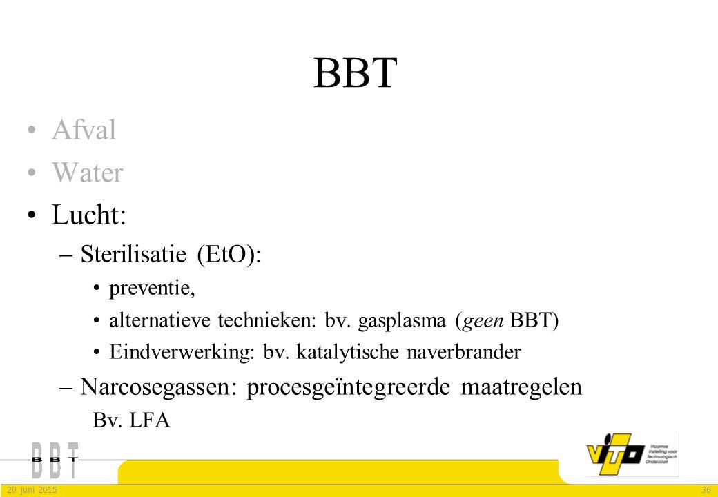 3620 juni 2015 BBT Afval Water Lucht: –Sterilisatie (EtO): preventie, alternatieve technieken: bv. gasplasma (geen BBT) Eindverwerking: bv. katalytisc
