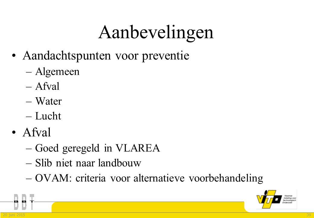 3920 juni 2015 Aanbevelingen Aandachtspunten voor preventie –Algemeen –Afval –Water –Lucht Afval –Goed geregeld in VLAREA –Slib niet naar landbouw –OV