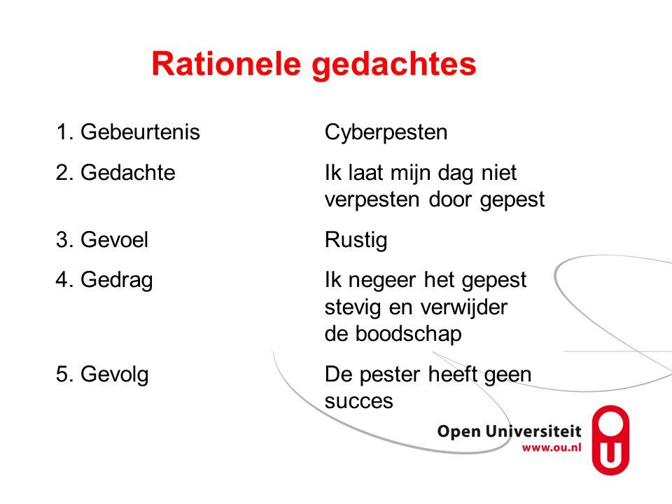 Rationele gedachtes 1. GebeurtenisCyberpesten 2.
