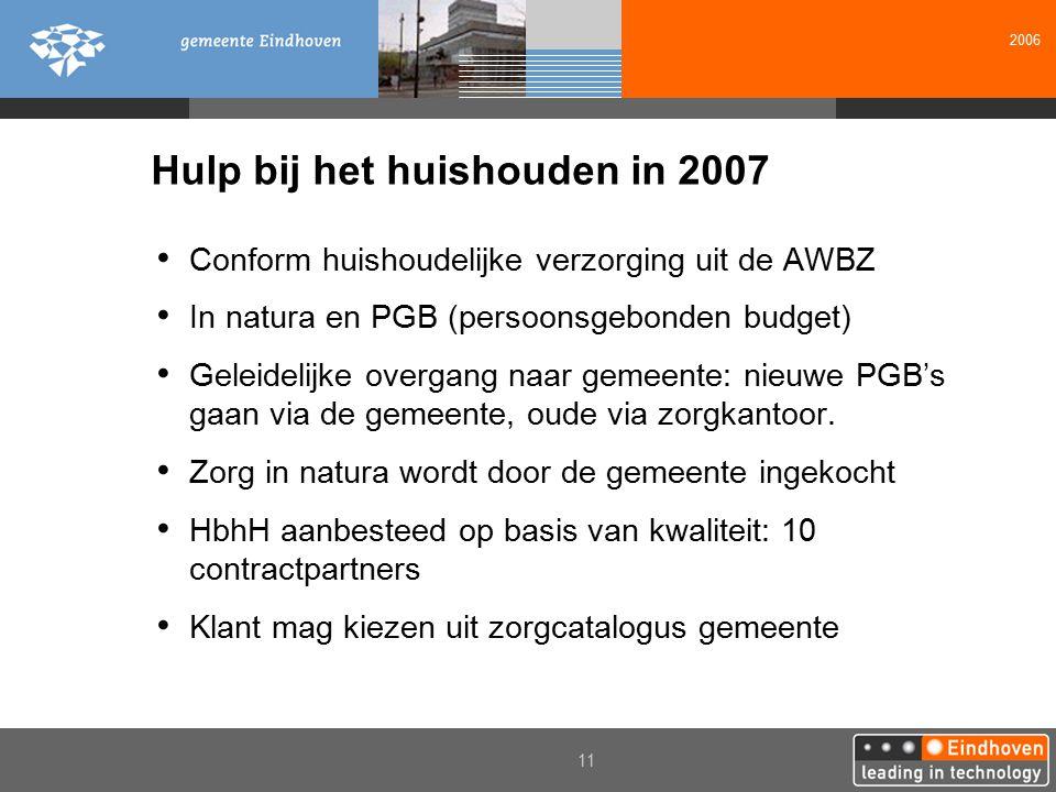 2006 11 Hulp bij het huishouden in 2007 Conform huishoudelijke verzorging uit de AWBZ In natura en PGB (persoonsgebonden budget) Geleidelijke overgang naar gemeente: nieuwe PGB's gaan via de gemeente, oude via zorgkantoor.