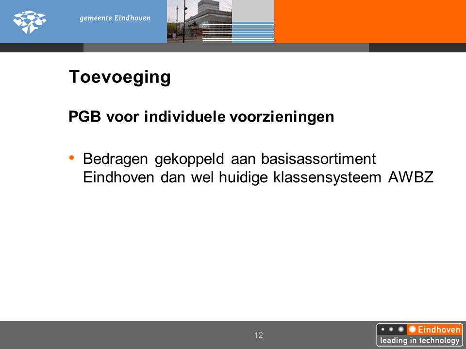 2006 12 Toevoeging PGB voor individuele voorzieningen Bedragen gekoppeld aan basisassortiment Eindhoven dan wel huidige klassensysteem AWBZ