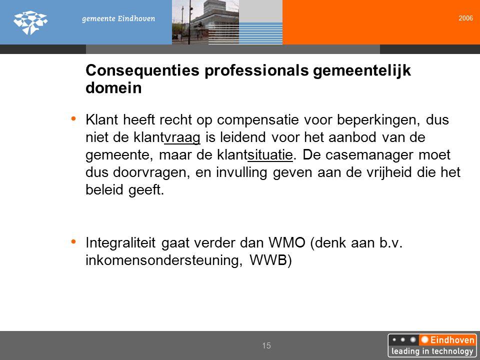 2006 15 Consequenties professionals gemeentelijk domein Klant heeft recht op compensatie voor beperkingen, dus niet de klantvraag is leidend voor het aanbod van de gemeente, maar de klantsituatie.
