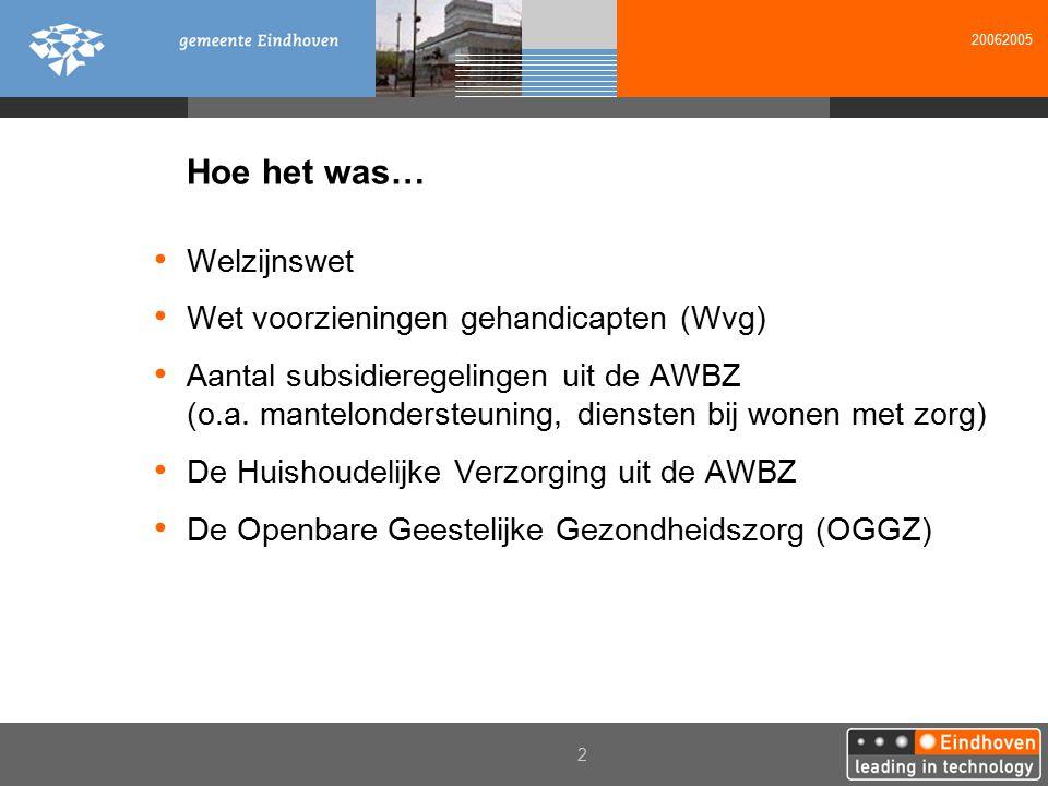 20062005 2 Hoe het was… Welzijnswet Wet voorzieningen gehandicapten (Wvg) Aantal subsidieregelingen uit de AWBZ (o.a. mantelondersteuning, diensten bi