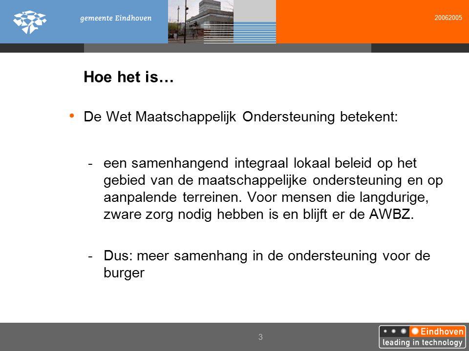 20062005 3 Hoe het is… De Wet Maatschappelijk Ondersteuning betekent: -een samenhangend integraal lokaal beleid op het gebied van de maatschappelijke