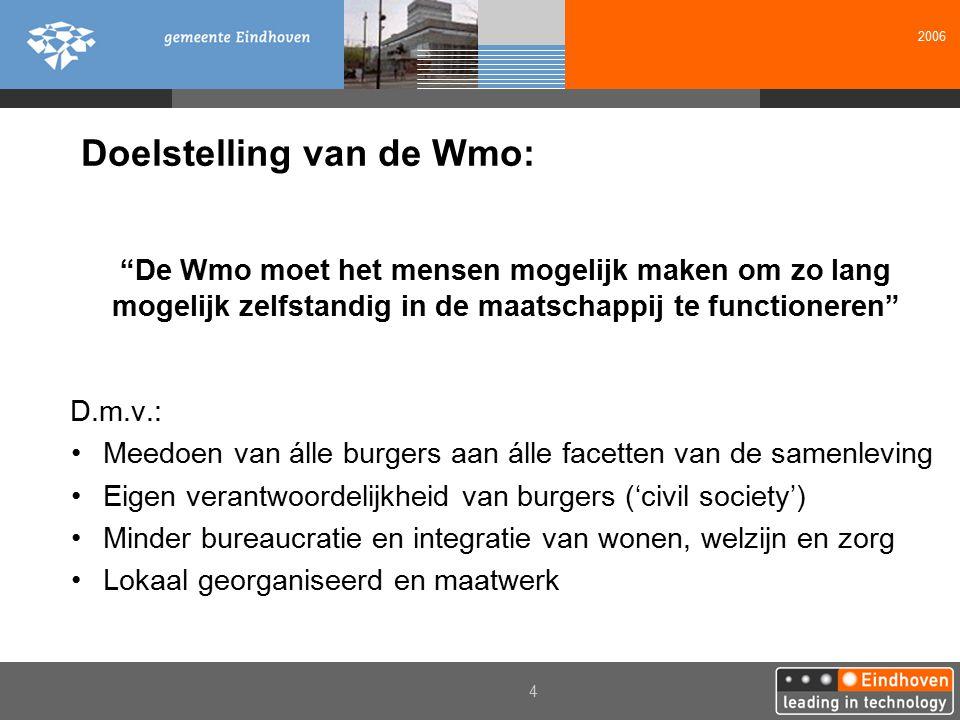 """2006 4 Doelstelling van de Wmo: """"De Wmo moet het mensen mogelijk maken om zo lang mogelijk zelfstandig in de maatschappij te functioneren"""" D.m.v.: Mee"""