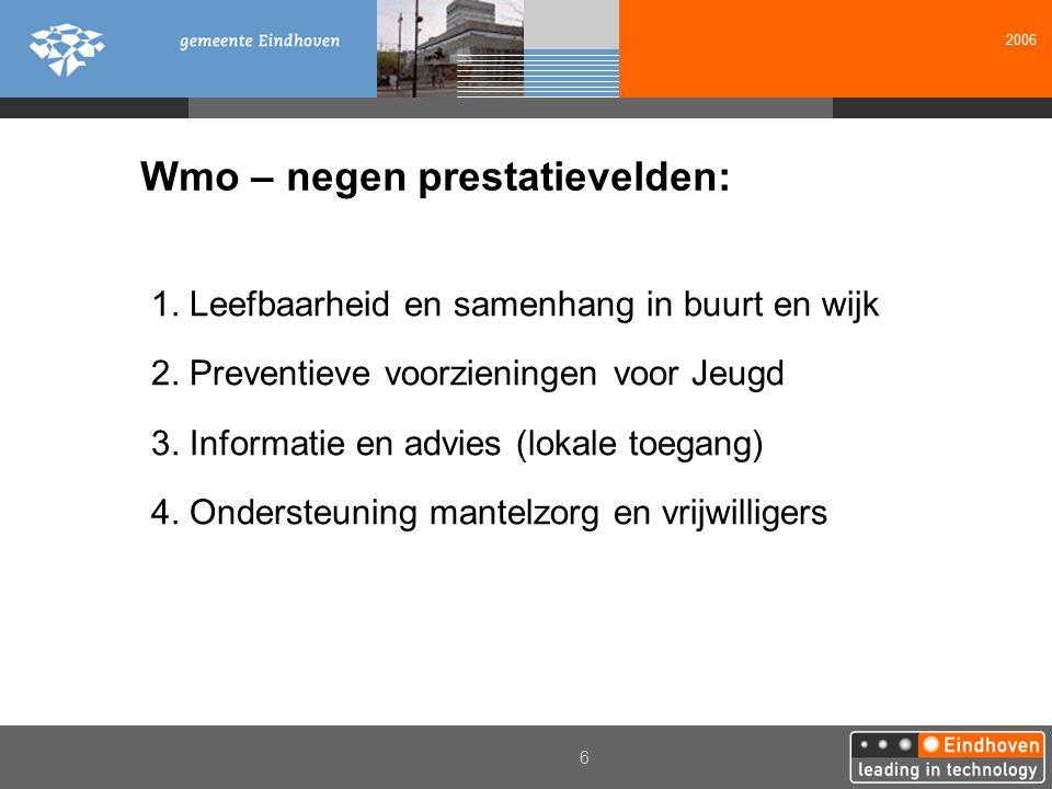2006 6 Wmo – negen prestatievelden: 1. Leefbaarheid en samenhang in buurt en wijk 2. Preventieve voorzieningen voor Jeugd 3. Informatie en advies (lok