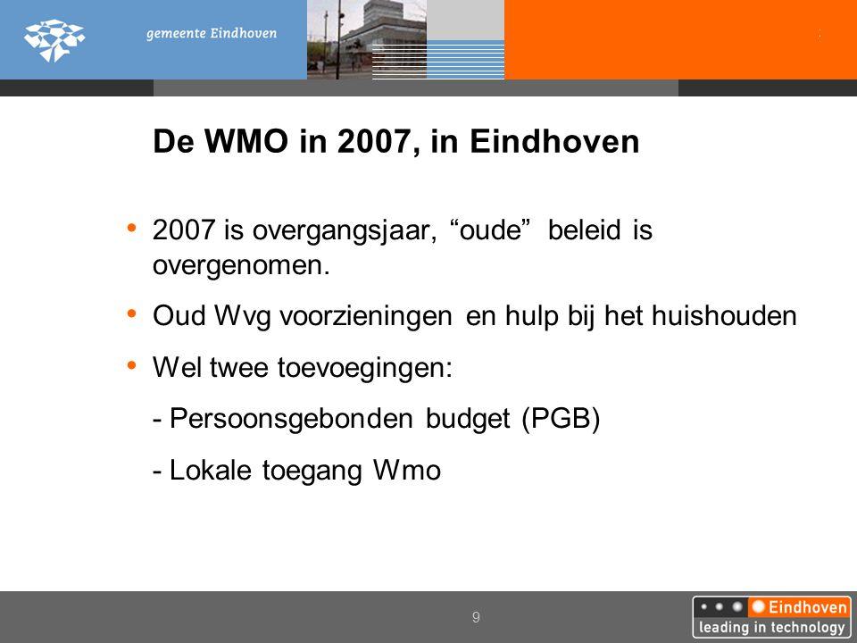 """2006 9 De WMO in 2007, in Eindhoven 2007 is overgangsjaar, """"oude"""" beleid is overgenomen. Oud Wvg voorzieningen en hulp bij het huishouden Wel twee toe"""