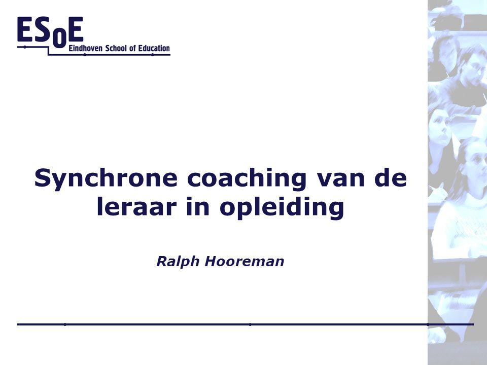 Synchrone coaching van de leraar in opleiding Ralph Hooreman