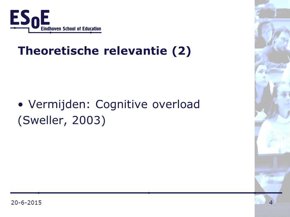 20-6-20154 Theoretische relevantie (2) Vermijden: Cognitive overload (Sweller, 2003)