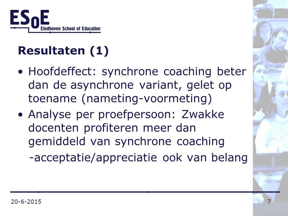 20-6-20157 Resultaten (1) Hoofdeffect: synchrone coaching beter dan de asynchrone variant, gelet op toename (nameting-voormeting) Analyse per proefper