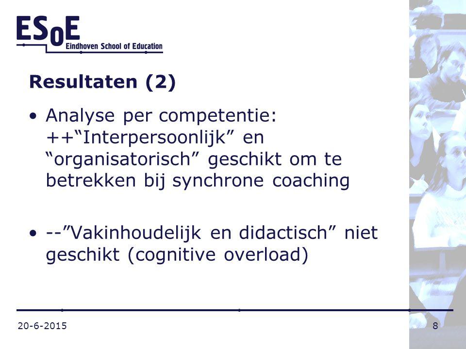 """20-6-20158 Resultaten (2) Analyse per competentie: ++""""Interpersoonlijk"""" en """"organisatorisch"""" geschikt om te betrekken bij synchrone coaching --""""Vakinh"""