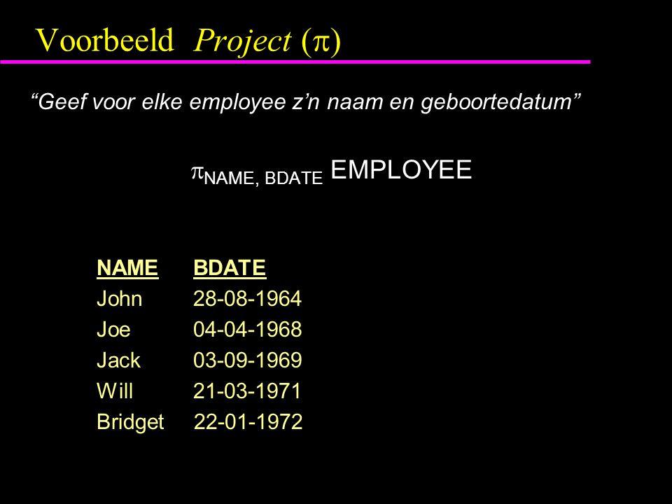 "Voorbeeld Project (  ) ""Geef voor elke employee z'n naam en geboortedatum""  NAME, BDATE EMPLOYEE NAME BDATE John 28-08-1964 Joe 04-04-1968 Jack 03-0"
