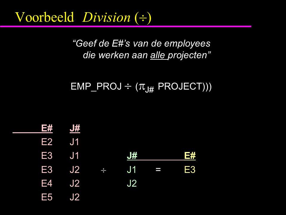 """Voorbeeld Division (  ) """"Geef de E#'s van de employees die werken aan alle projecten"""" EMP_PROJ  (  J# PROJECT))) E#J# E2J1 E3J1J#E# E3J2  J1=E3 E4"""