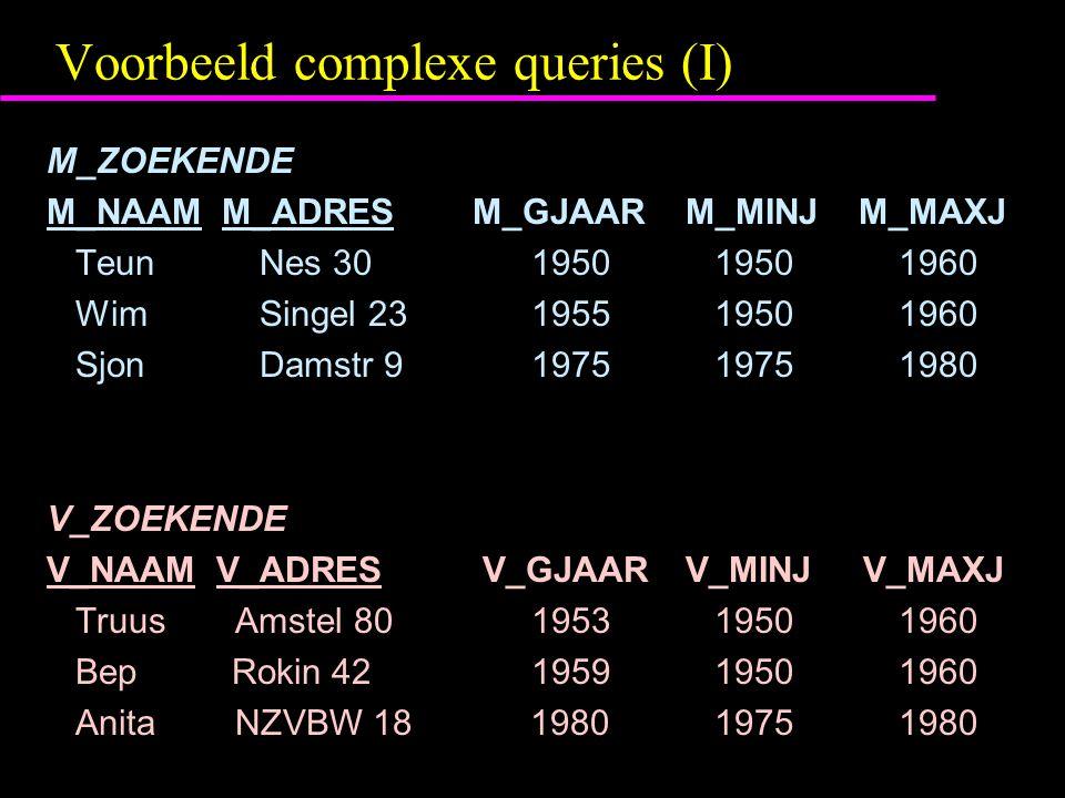 Voorbeeld complexe queries (I) M_ZOEKENDE M_NAAM M_ADRESM_GJAAR M_MINJ M_MAXJ TeunNes 30 1950 19501960 WimSingel 23 1955 19501960 SjonDamstr 9 1975 19