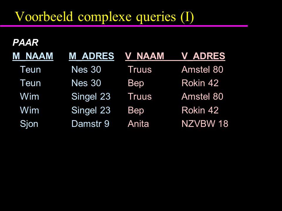 Voorbeeld complexe queries (I) PAAR M_NAAM M_ADRESV_NAAMV_ADRES Teun Nes 30 TruusAmstel 80 Teun Nes 30 BepRokin 42 Wim Singel 23 TruusAmstel 80 Wim Si