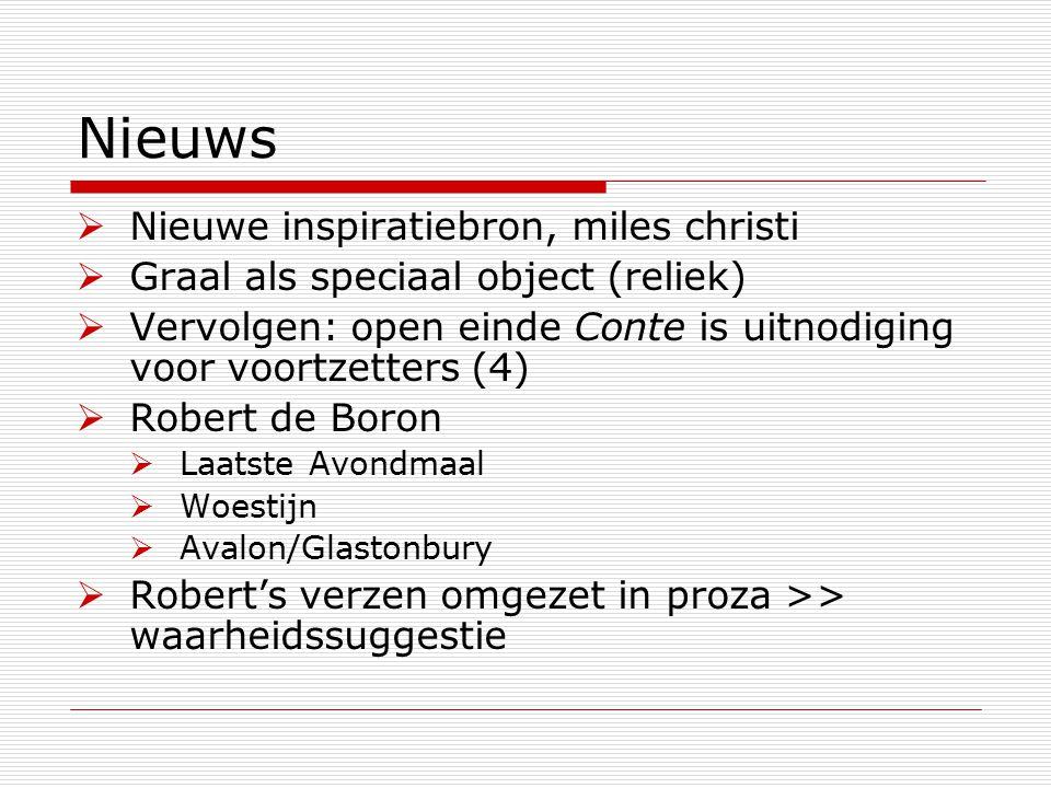 Nieuws  Nieuwe inspiratiebron, miles christi  Graal als speciaal object (reliek)  Vervolgen: open einde Conte is uitnodiging voor voortzetters (4)  Robert de Boron  Laatste Avondmaal  Woestijn  Avalon/Glastonbury  Robert's verzen omgezet in proza >> waarheidssuggestie