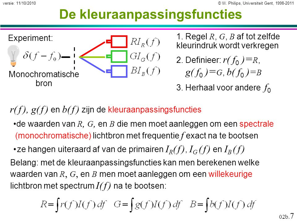 © W.Philips, Universiteit Gent, 1998-2011versie: 11/10/2010 02b.